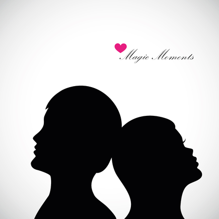 Man and woman silhouette magic moments vector illustration 向量圖像