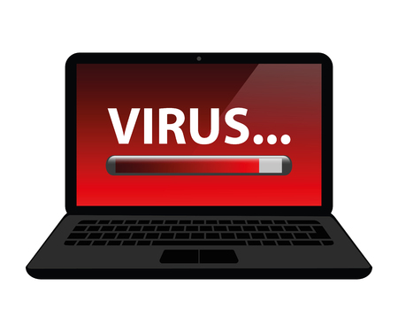 virus loading laptop internet crime vector illustration EPS10 Illustration