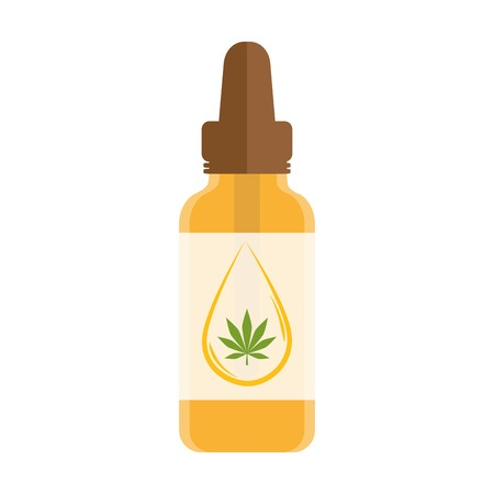 cannabis oil phial with drop and leaf isolated on white background vector illustration EPS10 Ilustração