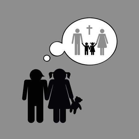 Siblings orphans think about the death of their parents vector illustration 向量圖像