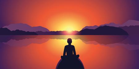 Persona disfrutar de una hermosa puesta de sol en el lago y el paisaje de montaña silueta ilustración vectorial EPS10