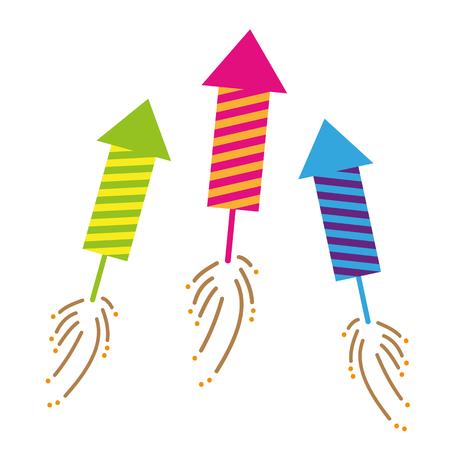 three colorful firecracker celebration set isolated on white background vector illustration EPS10 向量圖像