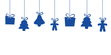 christmas hanging decoration blue star house man christmas tree bell vector illustration EPS10