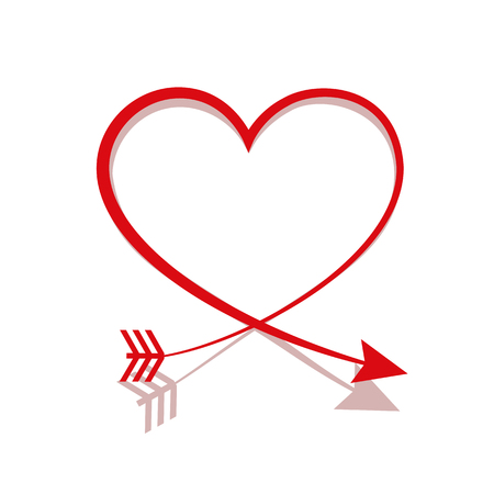red arrow heart line sign valentines day symbol isolated on white background vector illustration EPS10