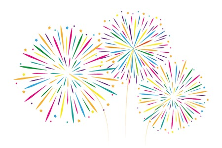 new year colorful fireworks decoration isolated on white background vector illustration EPS10