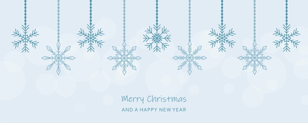 christmas hanging snowflakes decoration blue greeting card vector illustration EPS10