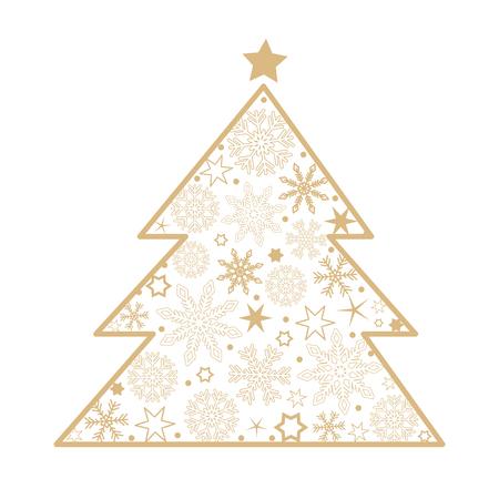 christmas tree snowflake decoration on white background vector illustration EPS10
