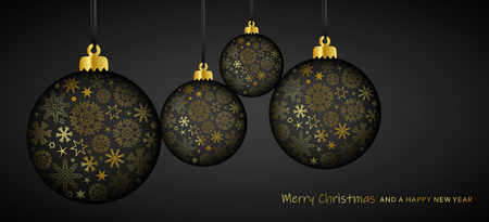 gold and black luxury christmas ball decoration with snowflakes vector illustration EPS10