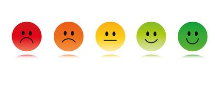 Bewertung Smiley Gesichter rot bis grün Vektor-Illustration EPS10 Vektorgrafik