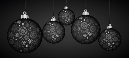 silver and black luxury christmas ball decoration with snowflakes vector illustration EPS10 向量圖像