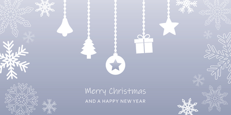 grey christmas greeting card with snowflake border and decoration vector illustration EPS10