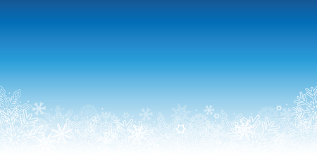 snowy blue winter background with snowflakes vector illustration EPS10