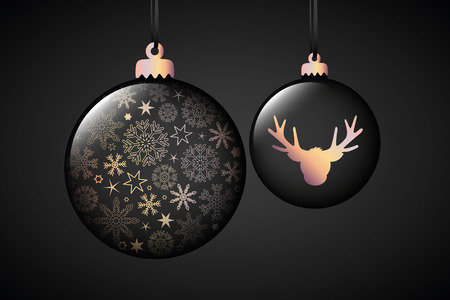 beautiful black christmas balls with snowflake and reindeer decoration vector illustration EPS10
