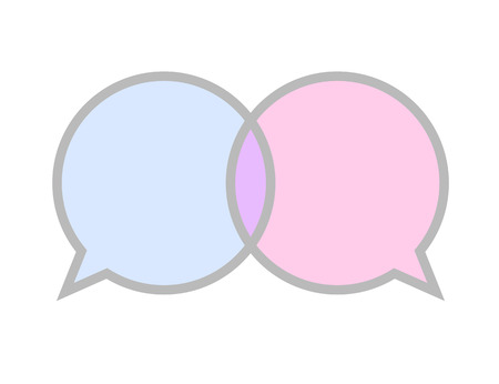 communication sign icon blue and pink speech bubble symbol vector illustration EPS10 Ilustrace