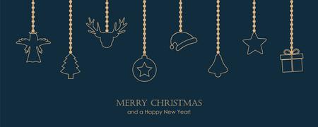 christmas greeting card with hanging decoration fir santa cap angel gift star bell on dark blue background vector illustration EPS10 Illustration