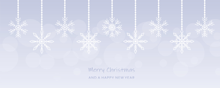 christmas hanging snowflakes bright greeting card vector illustration EPS10 向量圖像