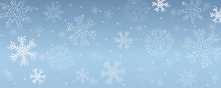 snowy winter background snowflakes in blue sky vector illustration EPS10