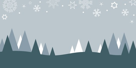 winter christmas landscape background with firs and snow vector illustration EPS10