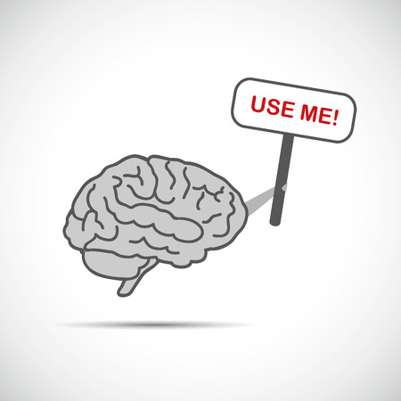 grey brain holding placard with use me text vector illustration