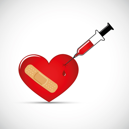 red broken heart with adhesive plaster and syringe vector illustration EPS10
