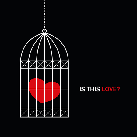 red heart in a bird cage with text is this love on black background vector illustration EPS10 Stock Illustratie