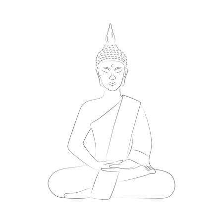 buddha meditation yoga outline drawing vector illustration EPS10
