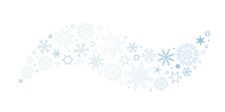 decorative bright blue christmas wave with snowflakes and stars vector illustration EPS10