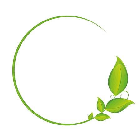 green circle tendril with leaves vector illustration EPS10