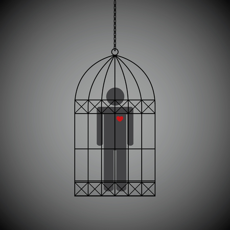 man with red heart in a cage on dark background vector illustration EPS10