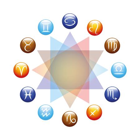 zodiac colorful sign set circle vector illustration EPS10 Illustration