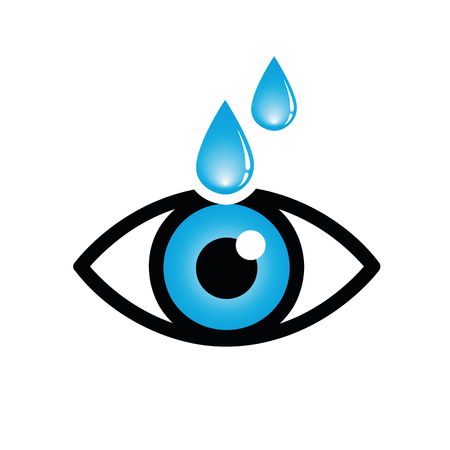 blue eye with eye drops icon isolated on white background vector illustration EPS10