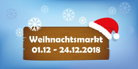 christmas market wooden sign with santa cap on snowy background vector illustration EPS10