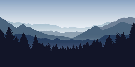 blue foggy mountain and forest nature landscape vector illustration EPS10