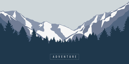 mountain and forest outdoor adventure landscape vector illustration EPS10