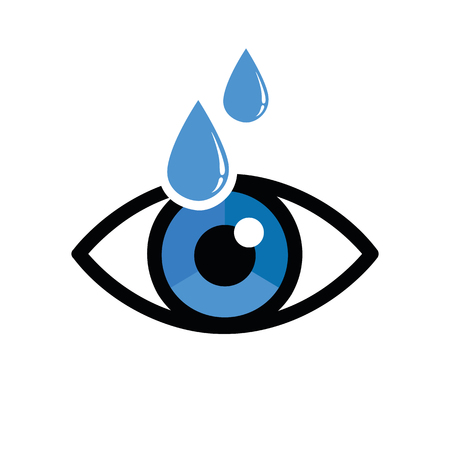 eye with eye drops ophthalmology icon isolated on white background vector illustration EPS10