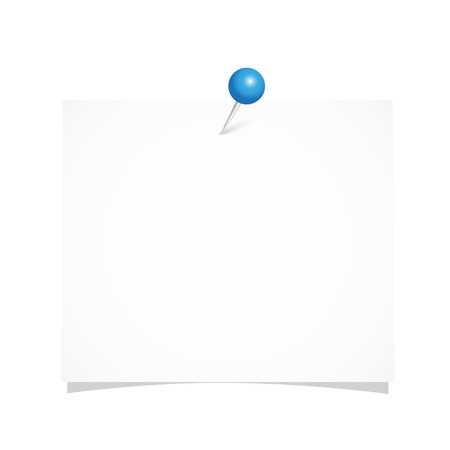 white note paper with blue pin isolated on a white background vector illustration EPS10
