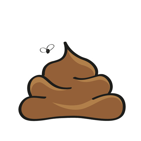 poop icon with a fly vector illustration