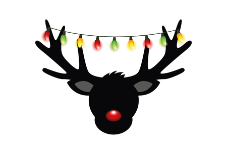 reindeer head silhouette with red nose and colorful christmas lights decoration vector illustration EPS10