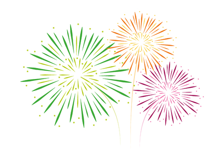 colorful fireworks green orange and pink isolated on white background vector illustration EPS10 Stock Photo