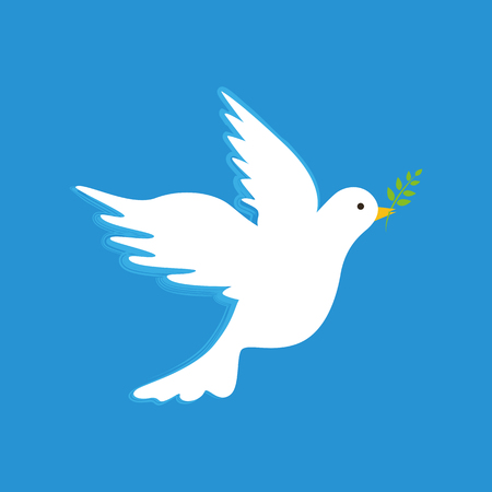 white peace dove with branch on blue background vector illustration EPS10