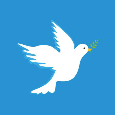 Weiße Friedenstaube mit Zweig auf blauem Hintergrund Vektor-Illustration EPS10