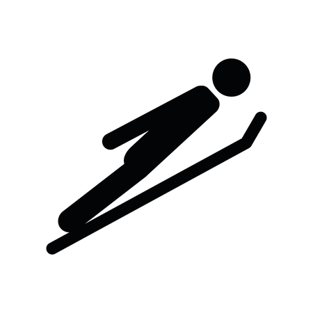 skier takes off winter sport pictogram vector illustration EPS10