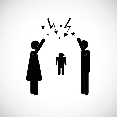 couple with child arguing icon pictogram vector illustration