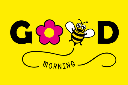 good morning typography greeting card with pink flower and honey bee vector illustration EPS10 Illustration