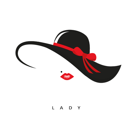 lady with elegant hat with red bow and red lips vector illustration EPS10 Illustration