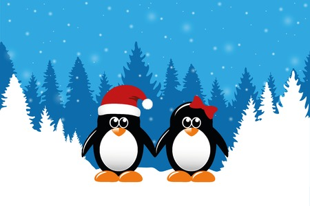 two cute christmas penguins on snowy winter forest background vector illustration EPS10