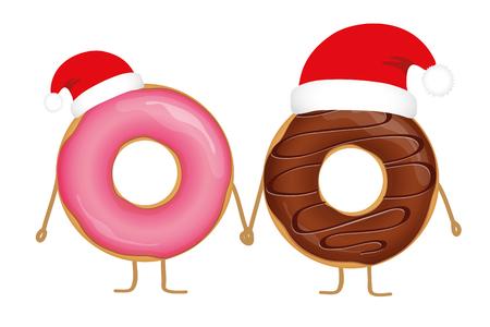 pink and choco christmas donut cartoons with santa cap vector illustration EPS10
