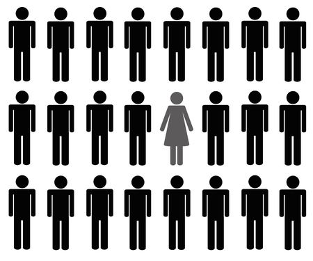 Une femme parmi de nombreux hommes illustration vectorielle pictogramme Vecteurs