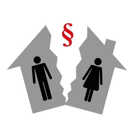 division of property at divorce pictogram man and woman in a half house vector illustration EPS10