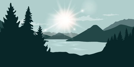 sunshine at the river and forest nature landscape vector ilustration EPS10